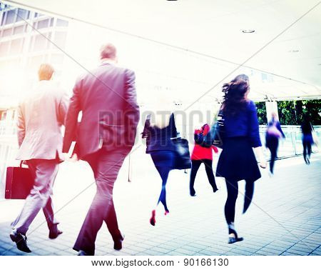 Business Commuter Walking Travel Corporate Office Concept