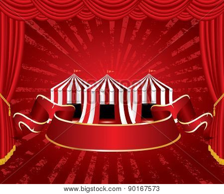 circus tent icons with red blank banner on red velvet stage