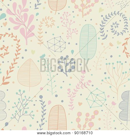 Pastel colored natural seamless pattern in vector. Sweet background for tranquil designs