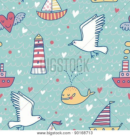 Sweet marine concept seamless pattern. Whale, boat, ship, lighthouse, seagull in funny cartoon background in vector. Stylish hipster theme in popular colors