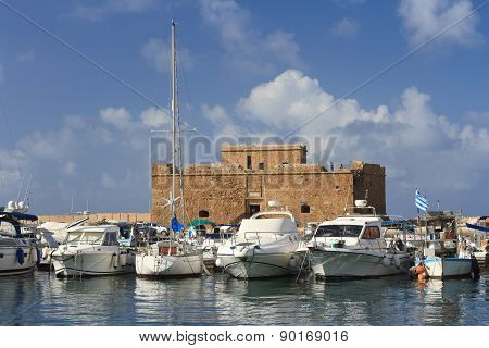 Ships In Port On The Background Of The Fortress Of Paphos Cyprus