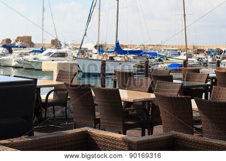 The Cozy Cafe In The Mediterranean Port. Horizontal