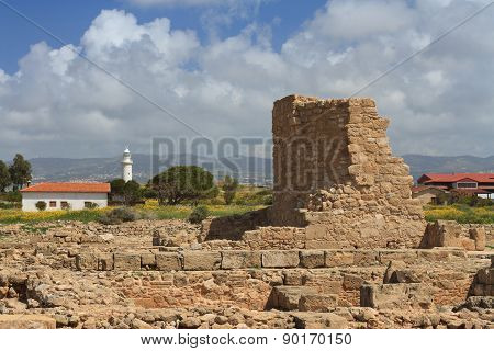 Ruined Wall In Ancient Paphos Archaeological Park. Cyprus