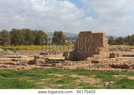 Ancient Ruins In Paphos Archaeological Park. Cyprus