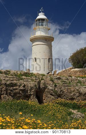 Beautiful Lighthouse In Cyprus In Paphos Archaeological Park