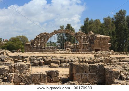 Greek Arches In Ruins Of Ancient Complex In Paphos, Cyprus