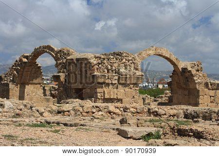 Paphos Archaeological Park. Castle Saranta Kolones