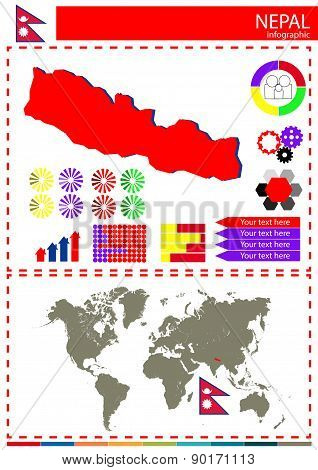 Vector Nepal Country Map Flag Graph Concept