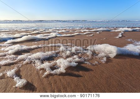 Sand Beach On North Sea And Blue Sky