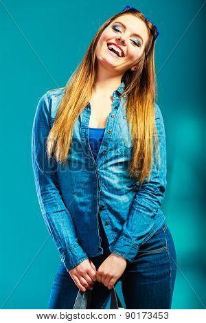 Fashion Woman Wearing Blue Denim Shirt
