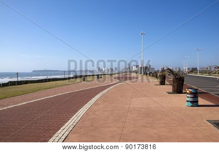 Paved Walkway With Hotels In Distance On Durban's Golden Mile