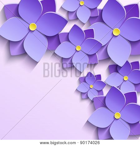 Background With Purple Summer Flowers Violets