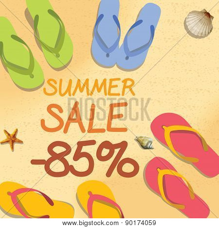 Summer Discount Of 85  Percent On The Sand With Starfish And Colorful Summer Slippers