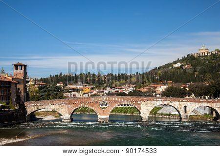 Ponte Pietra  Bridge In Verona, Italy