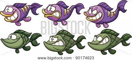 Cartoon fish with different emotions. Vector clip art illustration with simple gradients. Each on a separate layer.