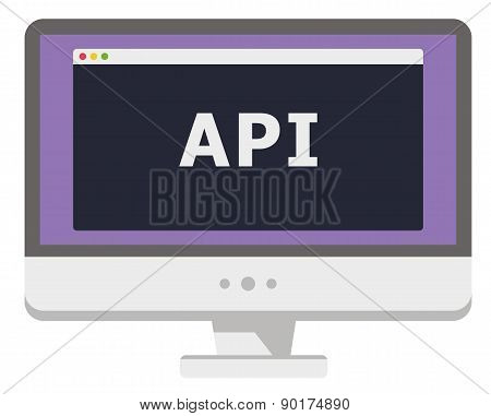 vector illustration of personal computer display showing window with api heading