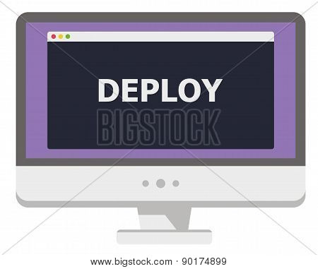 vector illustration of personal computer display showing window with deploy title