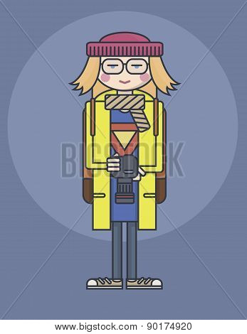flat design line drawn girl in glasses and yellow coat holding photo camera smiling photograph illus