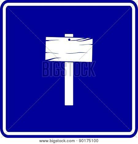 wooden sign blue sign