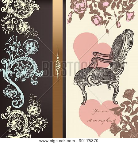 Antique Valentine Card Design With Heart And Chair