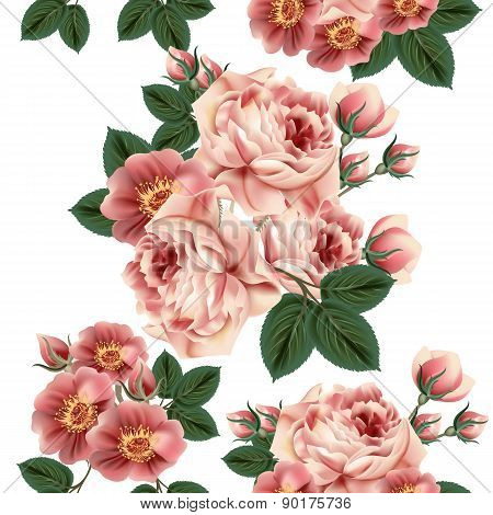 Seamless Pattern With Roses In Retro Style