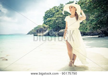 Fashion Model On Tropical Beach