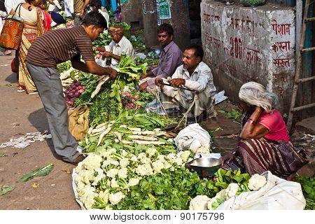 People Sell Vegetables At Chawri Bazar In Delhi, India