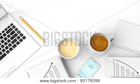 Two cups of coffee with notepad,phone,laptop,pencil and stats isolated