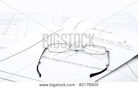 Reading Glasses On Blueprints