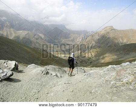 Summer hiking in the mountains