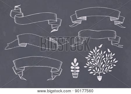 Old hand drawn ribbon banner - for scrapbook and design in vector