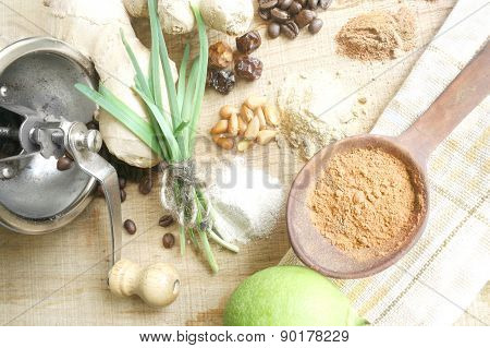 Kitchen Background With Assorted Flavorings