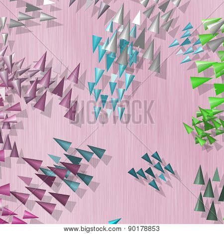 Plenty Of Colored Spikes Scattered On Pink Background