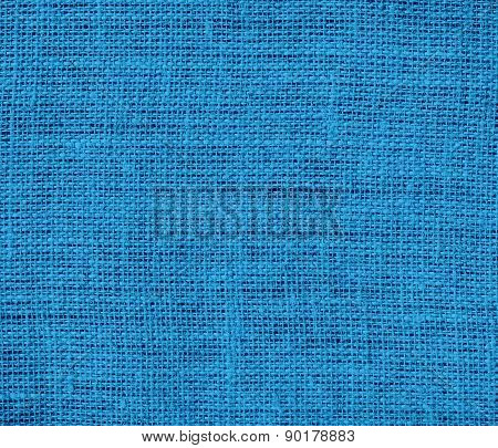 Cyan cornflower blue color burlap texture background