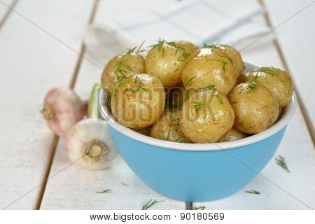 Potatoes In A Blue Bowl