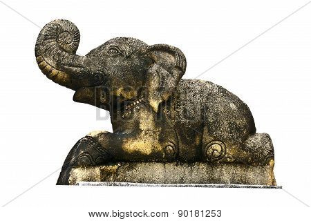 Craved Sandstone Elephant Isolate On White Background  Used For Decorate