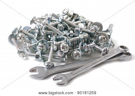 bench tools, bolts, nuts, washers