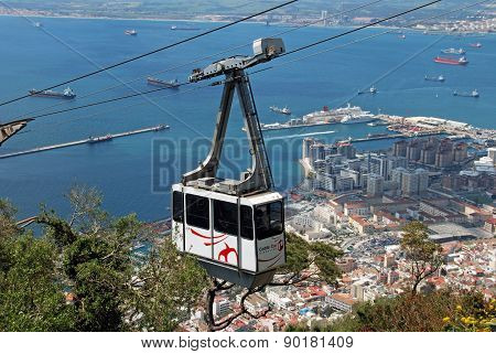 Cable car and town, Gibraltar.