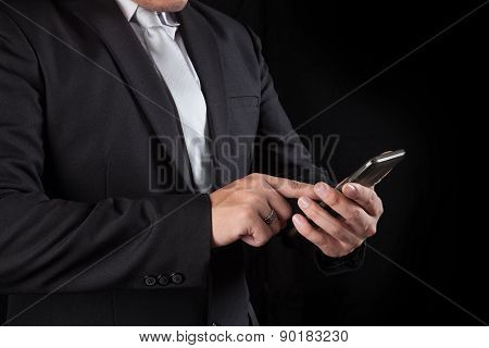Business Man Touching On Mobile Phone Screen Use For Connecting In Modern Lifestyle Digital Technolo