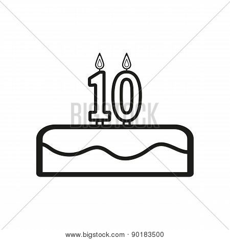 Cake With Candles In The Form Of Number 10 Icon