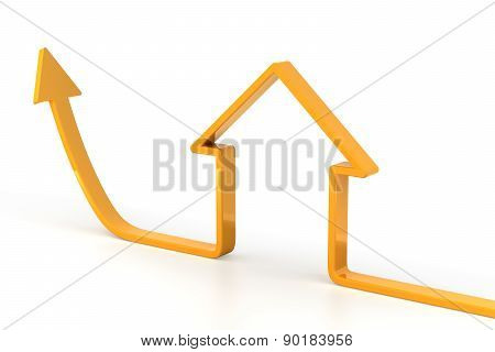 Rising arrow shaped like a house