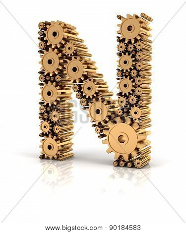 Alphabet N formed by gears