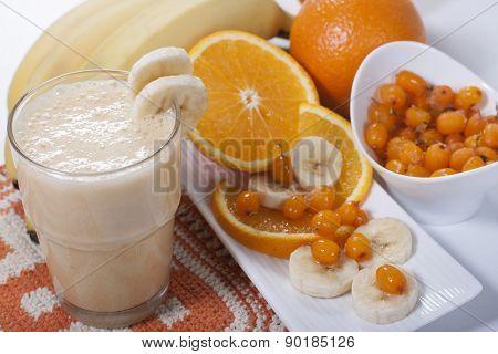 Smoothie Of Banana, Orange Juice , Frozen Sea-buckthorn   With Yogurt