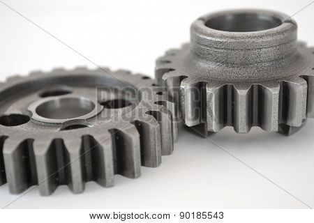 Two Gears On White