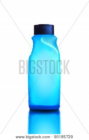 Blue Shower Gel And Shampoo Bottle On White Background