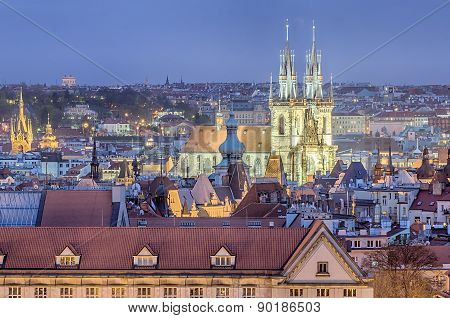 Aerial view of Prague in the sunset