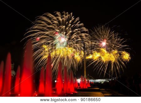 Festive Fireworks In Moscow In Honor Of The 70 Anniversary Of The Victory Of The Ussr Over Nazi Germ