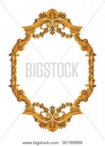 Golden antique frame isolated on white