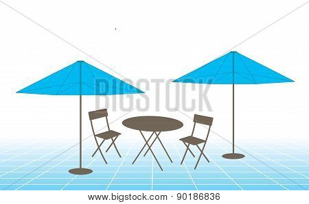 Outdoor Table, Chairs And Umbrellas