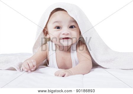 Attractive Male Toddler On Bed